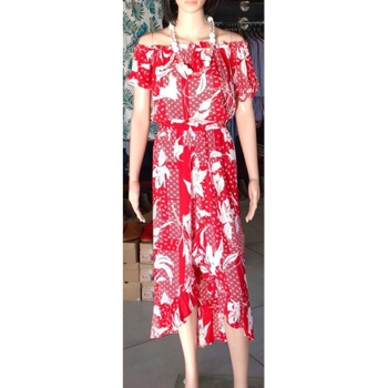 The Girl From Ipanema Floral Dress   White and Red