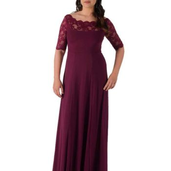 Jacoba | Elizabeth elbow sleeve /Burgundy- full length bridesmaid dress