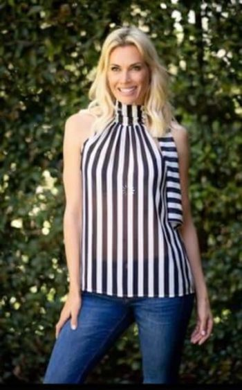 Iconic Designs -Neck Tie Top- Black/White stripes