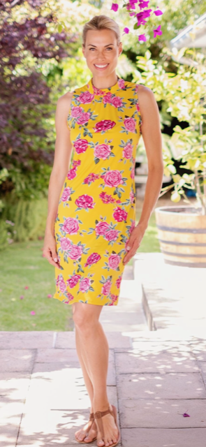 Iconic Designs - Neck Tie Dress -Yellow/Pink rose