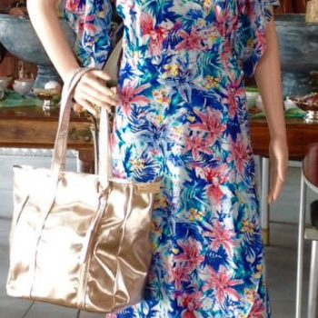 Iconic Designs   Wrap Dress - Floral (Pink & Blue)